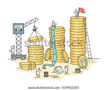 Sketch of stack of coins with working little people, crane. Doodle cute miniature of construction golden coins and preparing for the big profit. Hand drawn cartoon vector for business design. - stock vector