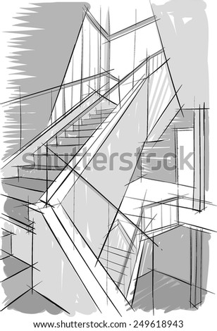 Sketch of stairs - stock vector