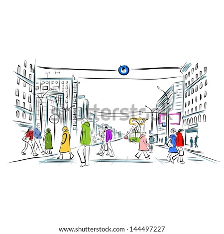 Sketch of street with pedestrians for your design - stock vector