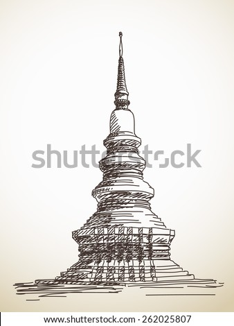 Sketch of thai stupa Chedi, Hand drawn Vector illustration - stock vector