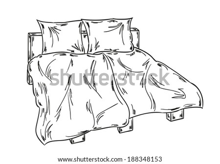 sketch of the bed on white background - stock vector