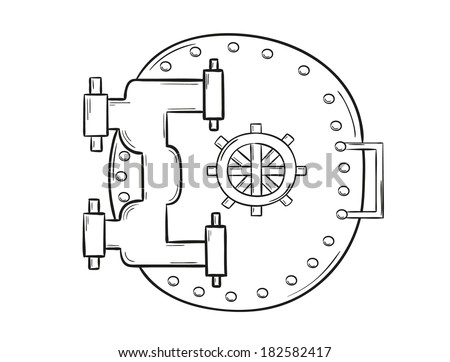 sketch of the big closed safe door on white background, isolated - stock vector