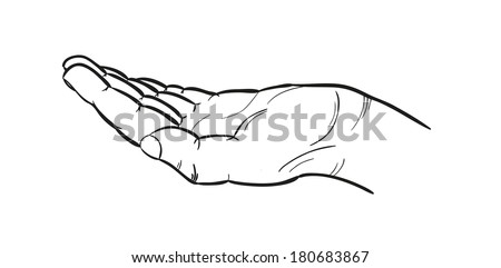 sketch of the empty human hand, isolated - stock vector