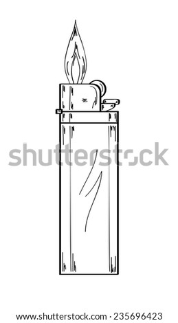 sketch of the gas lighter with flame on white background, vector, isolated - stock vector