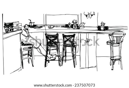 sketch of the interior cafe. Overlooking the window - stock vector