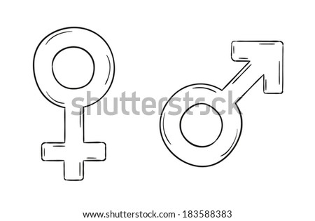 sketch of the male and female symbols, isolated - stock vector