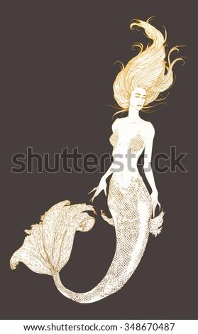 Sketch of the mermaid. Vector illustration. - stock vector