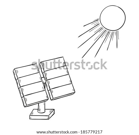 sketch of the solar power and sun, isolated - stock vector