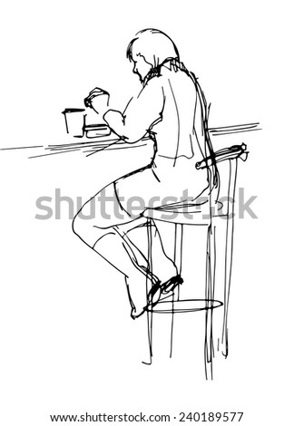Sketch of  woman at the lunch in cafe - stock vector