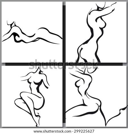 Sketch of woman torso ink style - stock vector