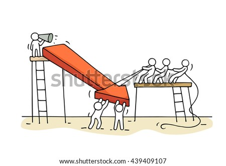 Sketch of working little people with arrow down, teamwork. Doodle cute miniature arrow and prepare out of the crisis. Hand drawn cartoon vector illustration for business design and infographic. - stock vector