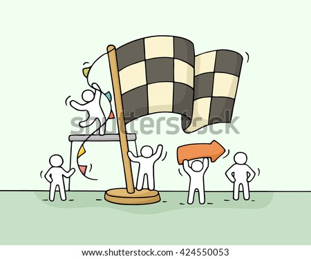 Sketch of working little people with finish flag, teamwork. Doodle cute miniature scene of workers celebrate victory. Hand drawn cartoon vector illustration for business concept. - stock vector