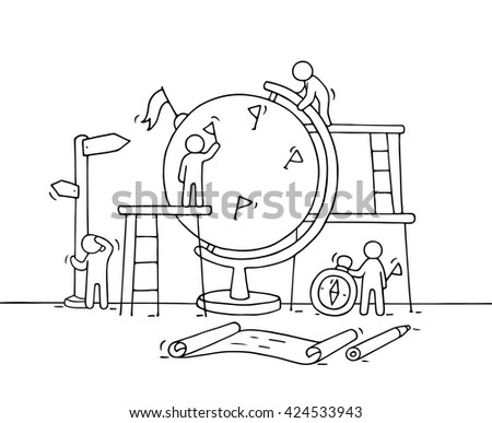 Sketch of working little people with globe. Doodle cute miniature scene of workers. Hand drawn cartoon vector illustration for business and education design. - stock vector