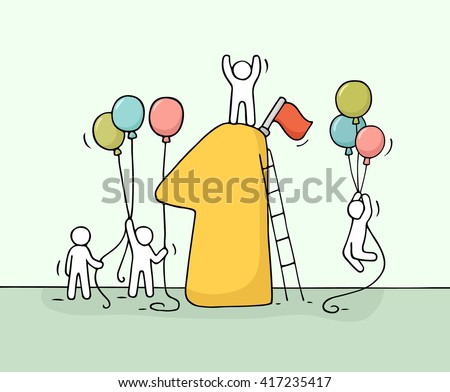 Sketch of working little people with number one, balloons. Doodle cute miniature scene of workers preparing for the celebration. Hand drawn cartoon vector illustration for business design. - stock vector