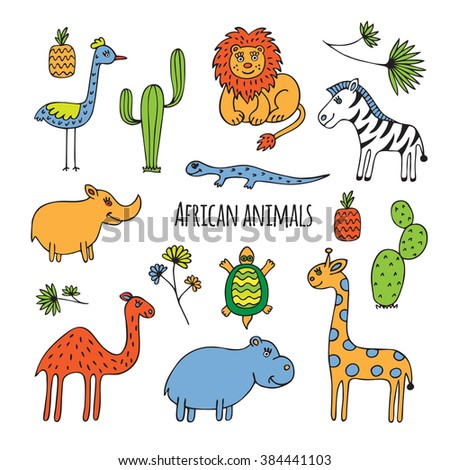 Sketch on the theme of Africa. Animals, birds and plants drawn by hand on a white background. - stock vector