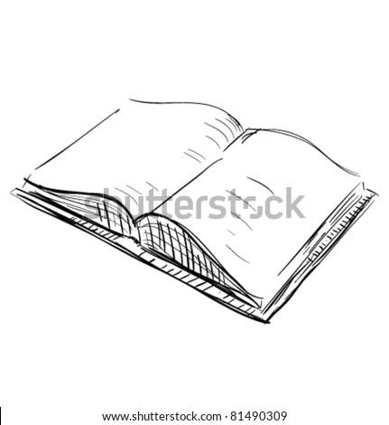 Sketch open book icon - stock vector
