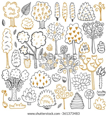 Sketch pattern with trees and leaves. Vector Illustration. - stock vector