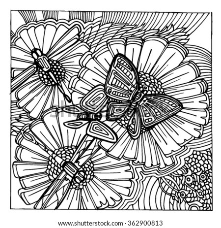 Sketch patterns of flowers. Flowers in the style of doodle. Butterflies of patterns. Daisies of the patterns. - stock vector