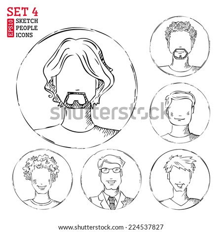 Sketch people icons. Men hand-drawn pencil pictograms isolated on white background. - stock vector