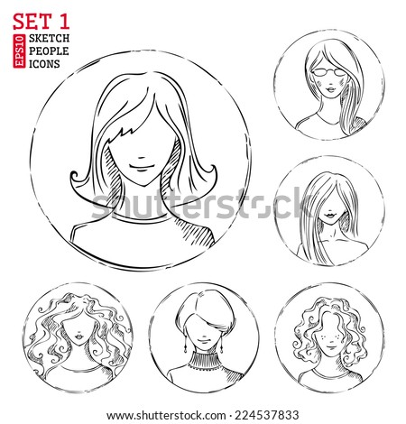 Sketch people icons. Women hand-drawn round pictograms isolated on white background. - stock vector