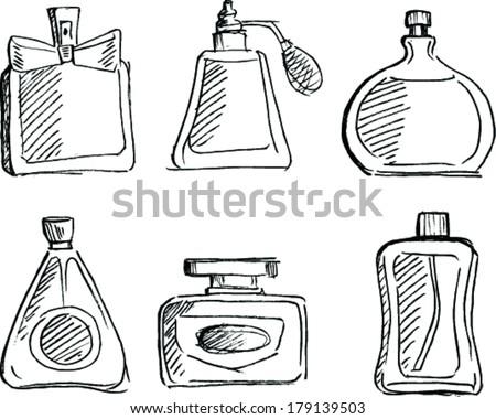 Sketch Perfume bottles set - stock vector