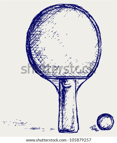 Sketch ping pong - stock vector