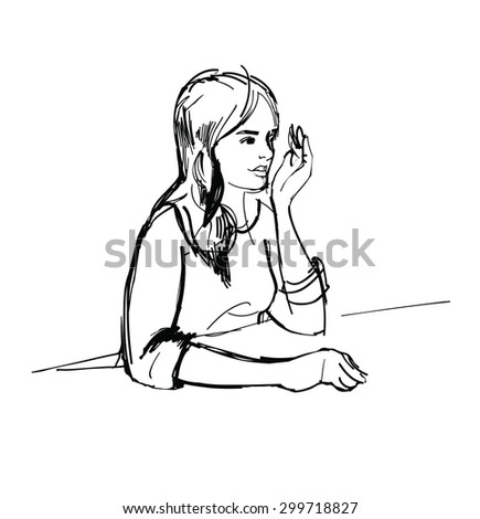 Sketch portrait of girl at the table  - stock vector