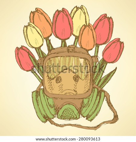 Sketch respiratory mask with tulips in vintage style, vector - stock vector