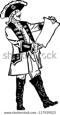sketch retro an officer reads out an order - stock vector