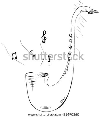 sketch saxophone icon - stock vector