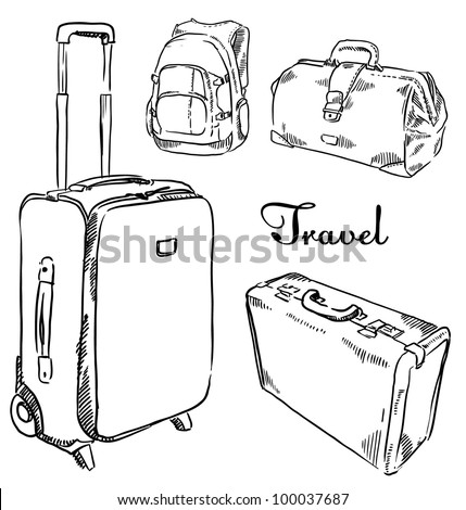 Sketch set of  suitcases - stock vector