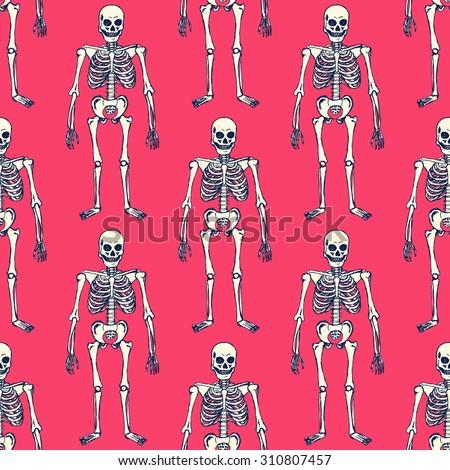 Sketch skeleton in vintage style, vector seamless pattern - stock vector