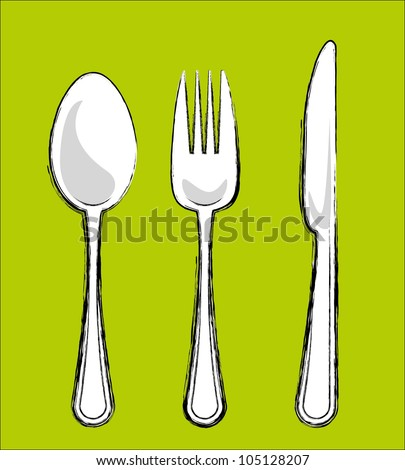 Sketch spoon,knife,fork - stock vector
