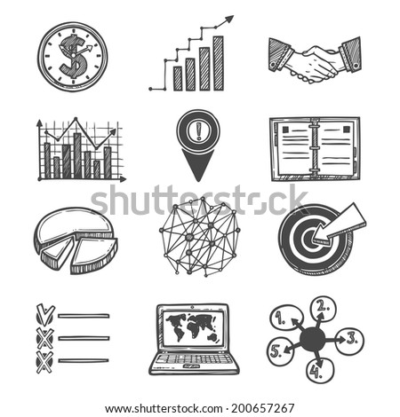 Sketch strategy and management icons set isolated vector illustration. - stock vector