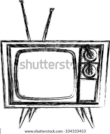 Sketch style Retro TV - stock vector