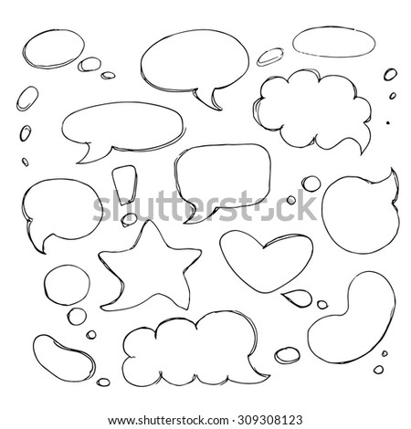 Sketch style Speech Bubbles Set. Hand drawn bubble speech clouds, ovals, heart, star. different shapes of Speech Bubbles. Doodle sketchy Comic graphic style. - stock vector