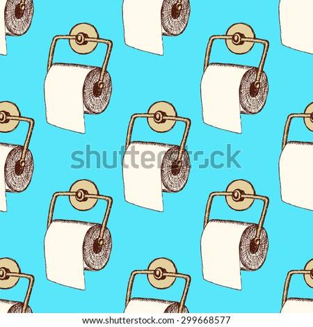 Sketch toilet paper in vintage style, vector seamless pattern - stock vector