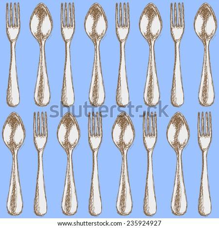 Sketch utensil  in vintage style, vector seamless pattern - stock vector