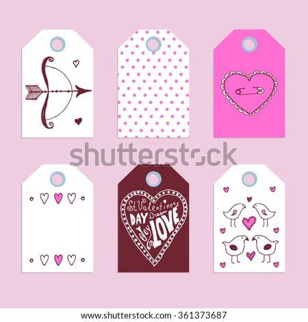 Sketch Valentine's tags in vintage style, vector - stock vector