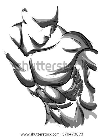 Sketch Vector Illustration:bodybuilder. strong muscular man. athlete or fighter - stock vector