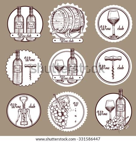 Sketch wine set of logos in vintage style, vector - stock vector