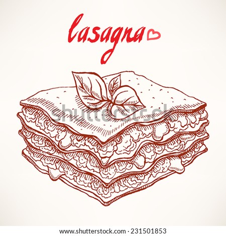 sketch with appetizing piece of lasagna with beef and basil leaves - stock vector