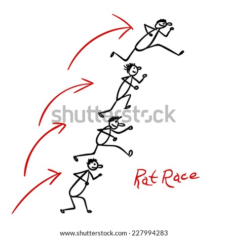 Sketch with people running over each other heads in rat race - stock vector