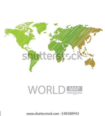 Sketch. World Map vector Illustration. - stock vector