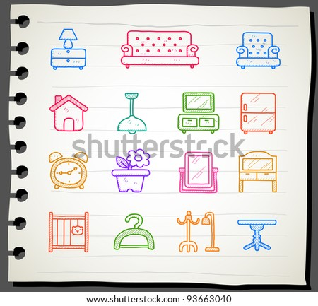 Sketchbook series |  Furniture icon set - stock vector