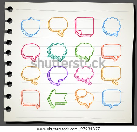 Sketchbook series | Speech And Thought Bubbles - stock vector