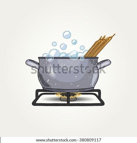 Sketched Cooking Spaghetti - stock vector