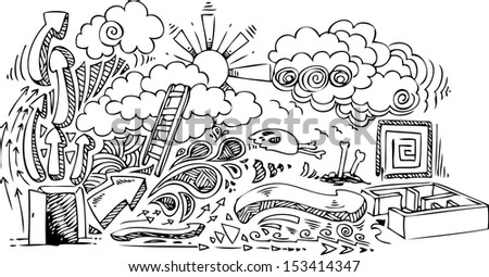 Sketched doodles about freedom, door open to imagination. - stock vector