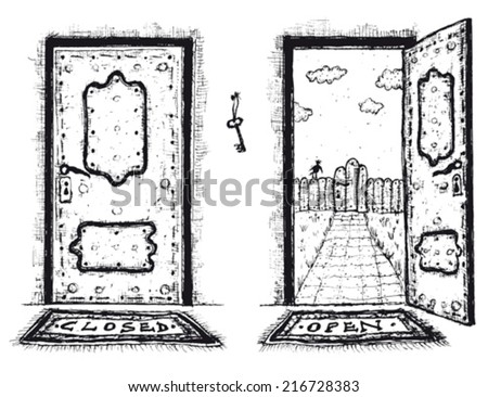 Sketched Door, Open And Closed/ Illustration of a doodle hand drawn front door opened on a spring urban backyard and closed, symbol of private and public, with mat to wipe foot - stock vector