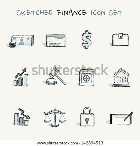 Sketched finance icon set - stock vector